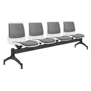 Pod Poly Fabric Beam 4 Seater White Shell