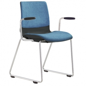 Pod Poly Fabric Sled Base Visitors Meeting Chair Black with Arms