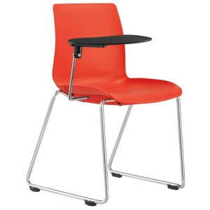 Pod Poly Sled Base Visitors Meeting Chair Red with Tablet Arm