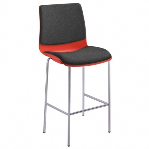 Pod Poly Fabric 4 Leg High Stool Chair Red