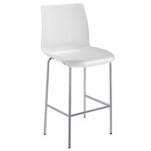 Pod Poly 4 Leg High Stool Chair White