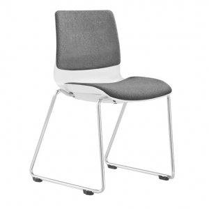 Pod Poly Fabric Sled Base Visitors Conference Chair White