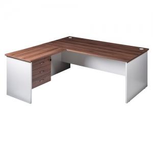 Essentials Premier Desk with Return +3 Draw Fix Pedestal Combo Casnan/White