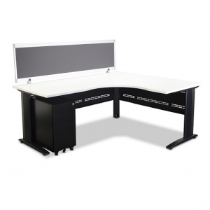 Jet Corner Workstation Black, White Top with Screen (optional mobile ped)