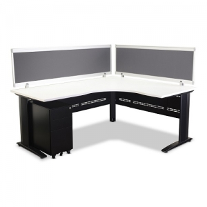Jet Corner Workstation Black, White Top with 2 Screens (optional mobile ped)
