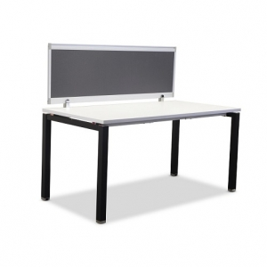 Runway Single Bench 1 Person with Fabric Screen - Black Leg