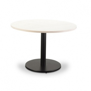 Stella Pedestal Black Base with Round Table Top White