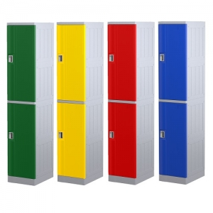 ABS Plastic 2 Door Locker - Green_Yellow_Red_Navy Blue