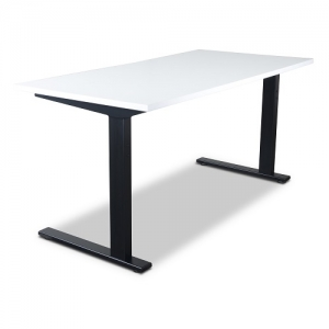 Vertilift Static Straight Desk Black Frame with White Top