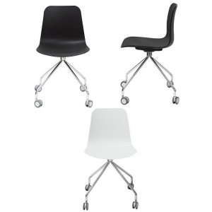 Weave Visitors Chair 4 Star Base with Castors_Black_White