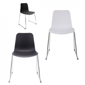 Weave Visitors Chair Chrome Sled Base_Black_White