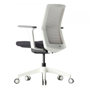 A-Two Grey Mesh Black Seat with White Frame Office Chair