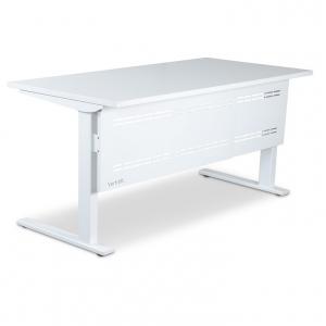 Vertilift Static Straight Desk Black Frame+Modesty, White Top