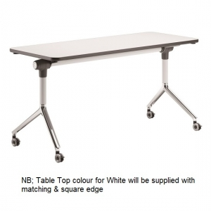 Deluxe Flip Top Table White-Chrome Frame